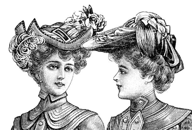 portrait of two women with vintage hats vector art illustration
