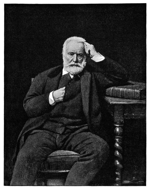 Portrait of Victor Hugo by Leon Bonnat - 19th Century Portrait of Victor Hugo by Leon Joseph Florentin Bonnat (circa 19th century). Vintage etching circa late 19th century. one senior man only illustrations stock illustrations