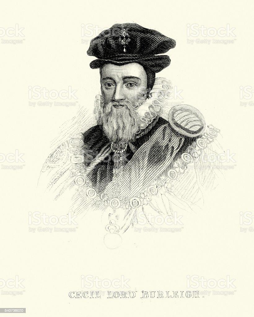 Portrait of William Cecil, 1st Baron Burghley vector art illustration