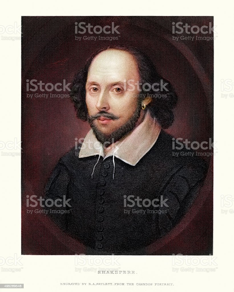 Portrait of William Shakespeare vector art illustration