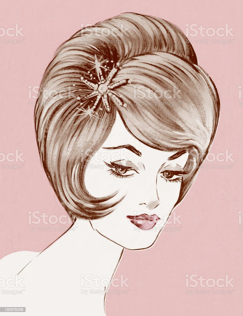 Portrait of Woman Pink Background royalty-free stock vector art