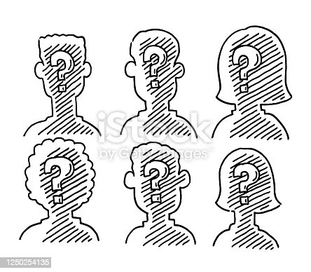 istock Portrait Silhouettes With Question Mark Signs Drawing 1250254135