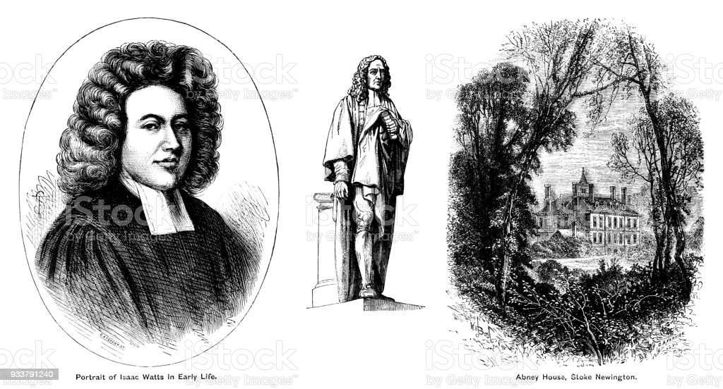 Portrait, statue and home of Isaac Watts, English hymn writer vector art illustration