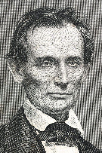 Steel engraving of president Abraham Lincoln Original edition from my own archives Source :