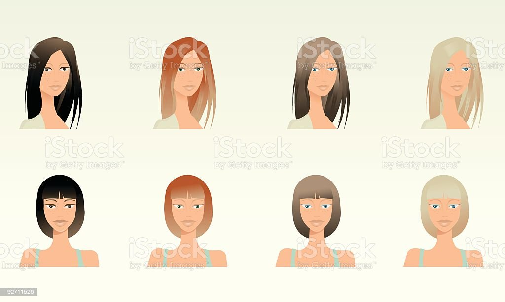 Portraits - black, brown,red and blonde hair royalty-free stock vector art