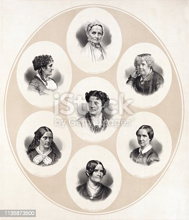 Head and shoulder portraits of seven important women of the Suffrage and Women's Rights Movements including Susan B. Anthony, Grace Greenwood, Anna Elizabeth Dickinson, Lucretia Mott, Lydia Maria Child, Mary A. Livermore, and Elizabeth Cady Stanton.