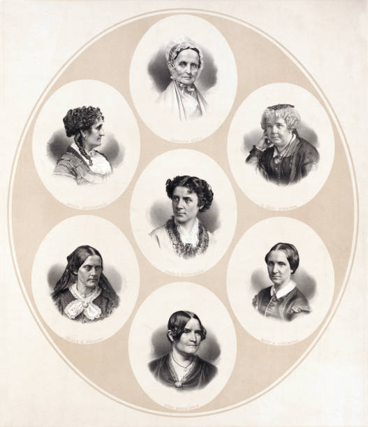 Portraits of Women of the Suffrage and Women's Rights Movement Head and shoulder portraits of seven important women of the Suffrage and Women's Rights Movements including Susan B. Anthony, Grace Greenwood, Anna Elizabeth Dickinson, Lucretia Mott, Lydia Maria Child, Mary A. Livermore, and Elizabeth Cady Stanton. women's suffrage stock illustrations
