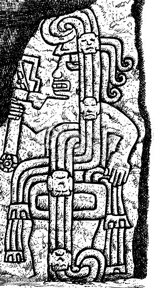 istock Portrayal of a fierce warrior carved in stone at Cerro Sechin Archaeological Site in Casma, northern Peru. Ink drawing. 1285346835