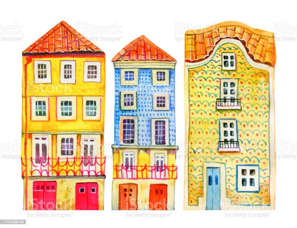 Vetores De Arquitetura De Portugal Casas De Pedra Velhas De Europa Da Aguarela Ilustracao Desenhada Mao Dos Desenhos Animados E Mais Imagens De Amarelo Istock