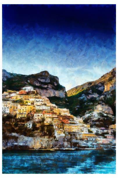 bildbanksillustrationer, clip art samt tecknat material och ikoner med positano amalfi coast-digital foto manipulation - amalfi