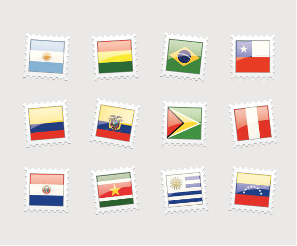 postage stamp flags: south america - ecuador flag stock illustrations