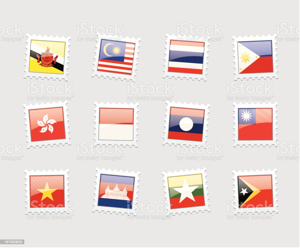 Postage Stamp Flags: Southeast Asia royalty-free stock vector art