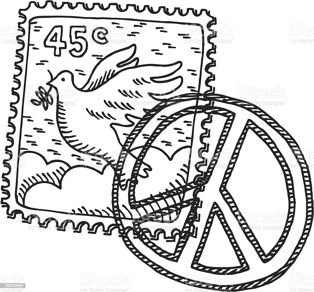 Postage Stamp Peace Dove Drawing vector art illustration