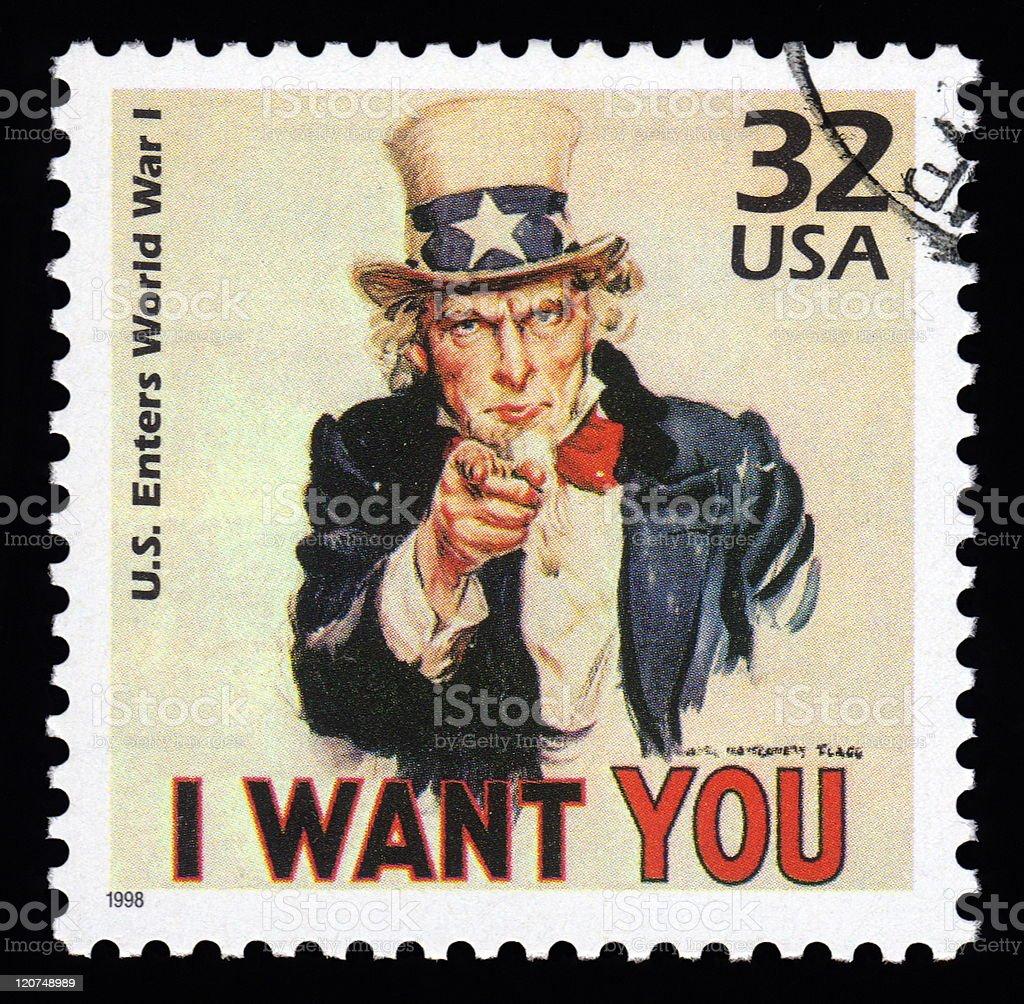 USA Postage Stamp Uncle Sam vector art illustration