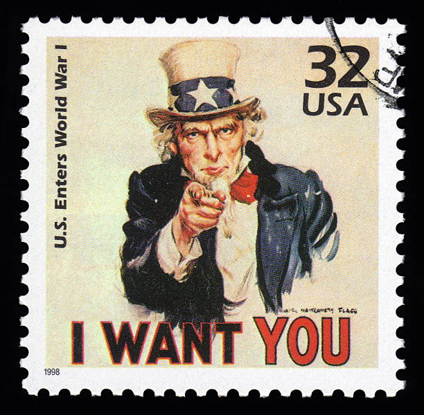 USA Postage Stamp Uncle Sam USA vintage postage stamp showing an image of Uncle Sam from World War One  saying 'I want you' uncle sam stock illustrations