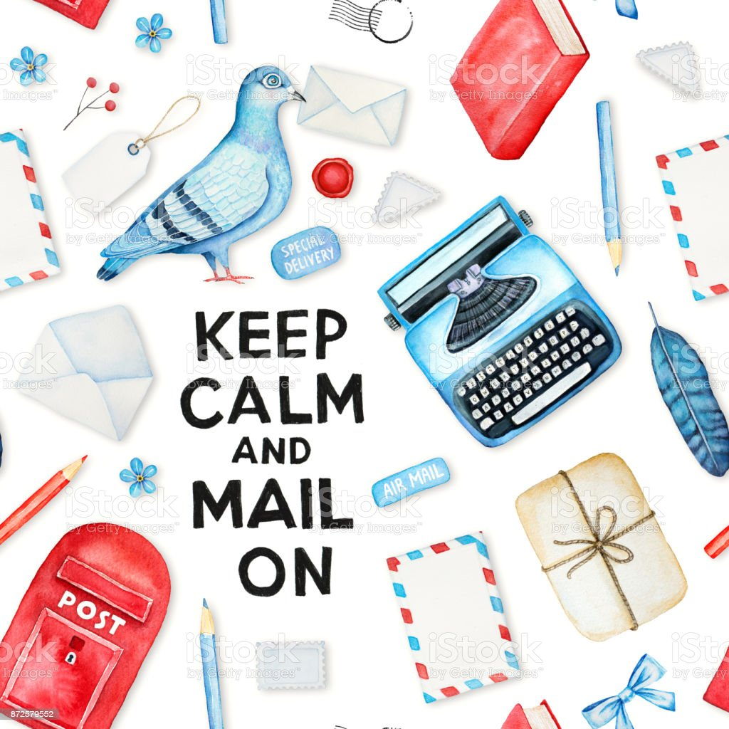 Postal theme seamless pattern with various mail sending elements, pigeon bird, modern style graphic, keep calm motivation slogan quote. vector art illustration
