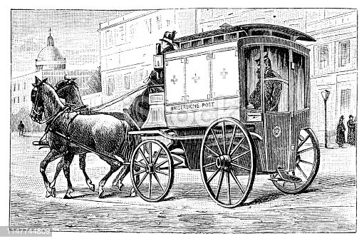 Stagecoach delivering mail in Berlin on 1.Nov.1889 Original edition from my own archives Source :