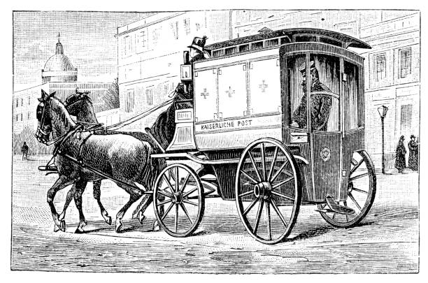 Postal worker delivering mail in stagecoach Berlin Germany 1889 vector art illustration
