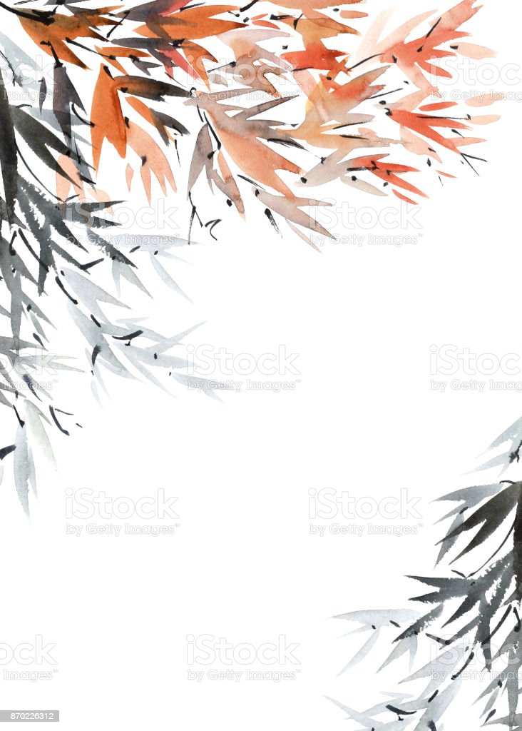 Postcard background with tree foliage vector art illustration