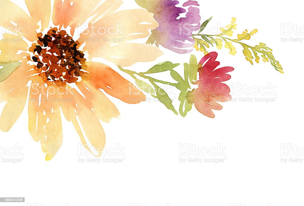 Inviti Matrimonio Girasoli : Postcard watercolor sunflowers wedding floral background