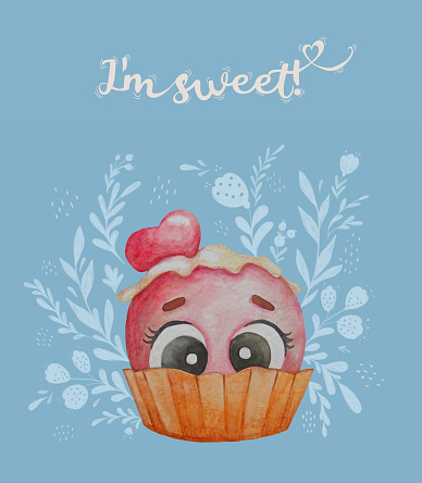 Postcard with a cute ball of ice cream with eyes in a waffle cup on a blue background with a floral pattern. Text - I m sweet. Watercolor illustration. Hand drawing