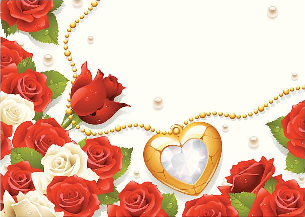 postkarte mit rosen, perlen und medaillon - perlenstrauß stock-grafiken, -clipart, -cartoons und -symbole