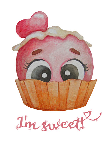 Postcard with the character. Pink scoop of ice cream with eyes in a waffle cup on white background with the text - I am sweet. Watercolor illustration. Hand drawing