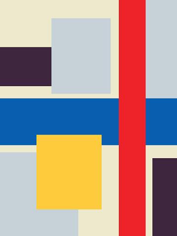 Poster art with Neoplasticism inspired art. piet mondrian, Bauhaus and Kandinsky influence. trendy and modern art design.