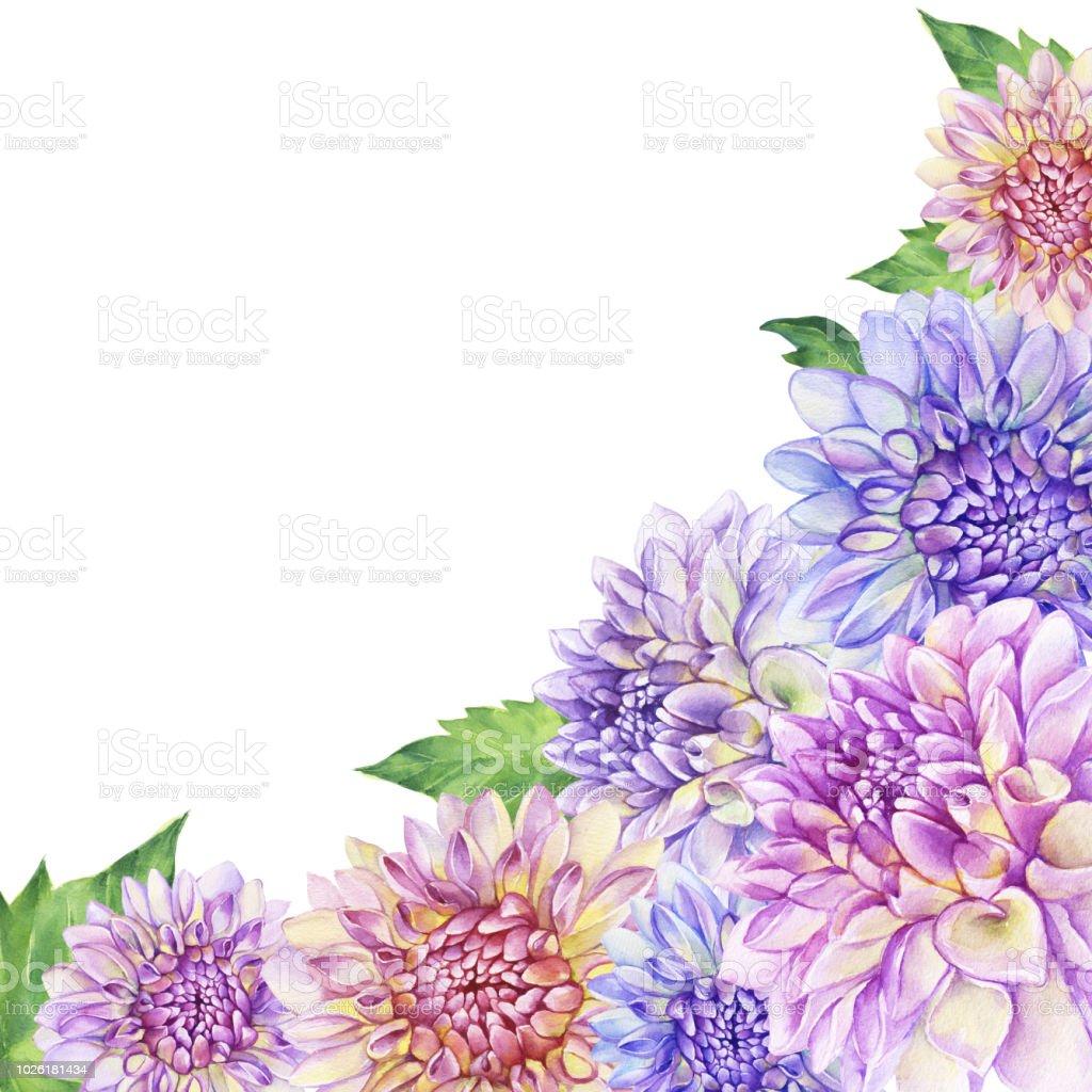 Poster Composition Of With Purple Dahlia Flower Closeup Dahlia