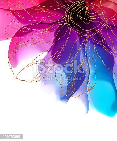 istock Poster Handmade abstract Fluid art wallpaper with watercolor, alcohol inks, stain, spots. Elegant gold lines, veins. Trendy abstract background for design poster, texture 1299708851