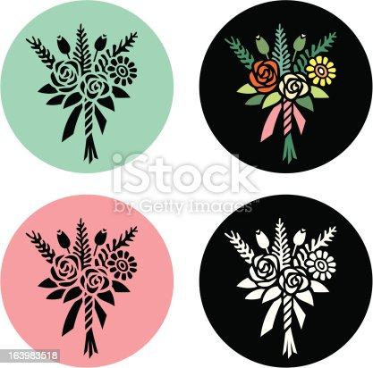 Series of flower illustrations. Each icon is grouped for ease of use. Illustrator eps vector file and jpg file available.