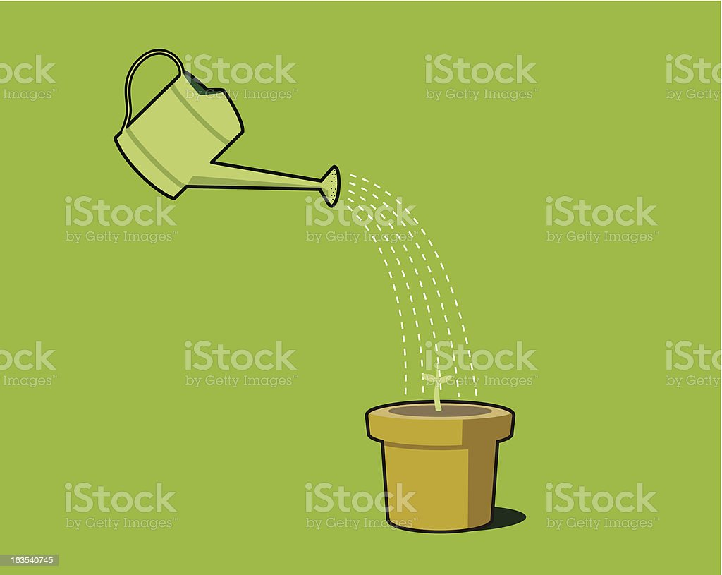 Pot Plant Watering royalty-free stock vector art