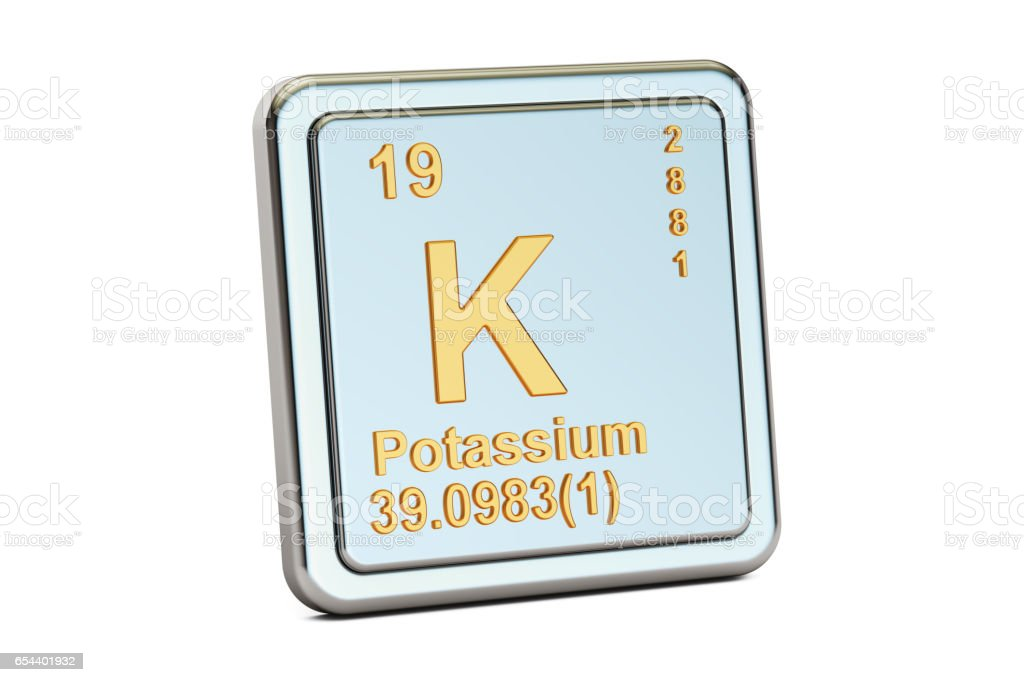 Potassium, K chemical element sign. 3D rendering isolated on white background vector art illustration