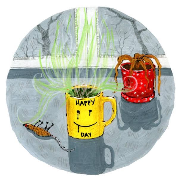 bildbanksillustrationer, clip art samt tecknat material och ikoner med dryck i koppen - coffe with death