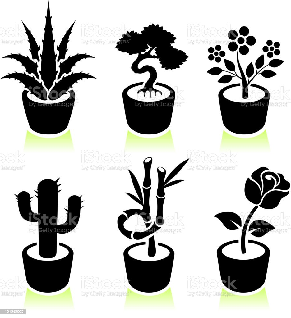 potted plants black & white royalty free vector icon set. royalty-free stock vector art