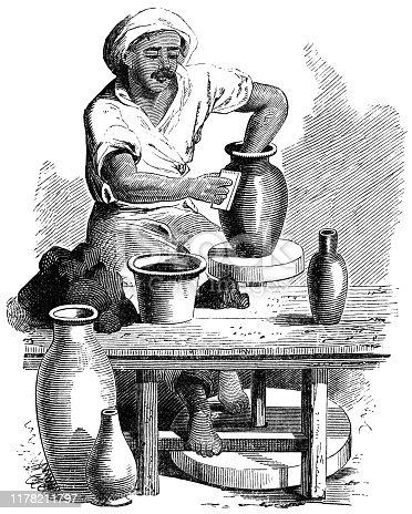 istock Potter Using a Potter's Wheel in Jaffa, Israel - Ottoman Empire 19th Century 1178211797