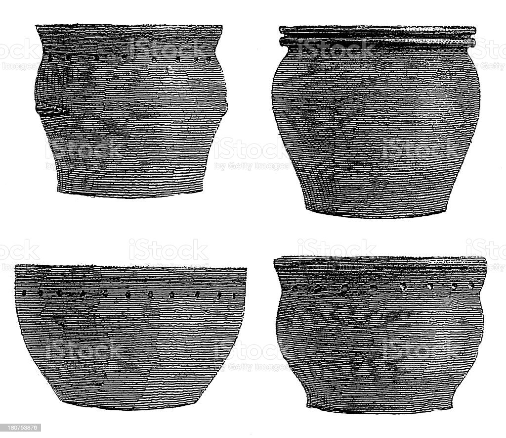 Pottery found at stilt houses in Bodensee (antique wood engraving) royalty-free pottery found at stilt houses in bodensee stock vector art & more images of 19th century