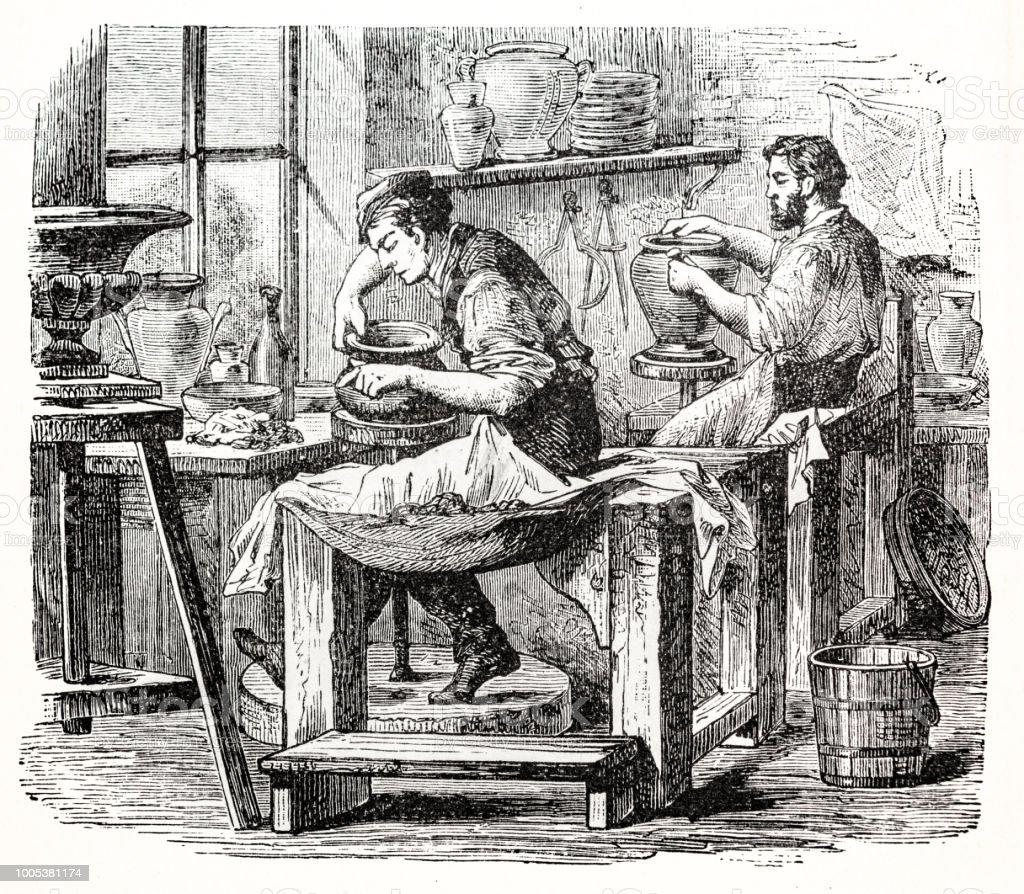 cerámica con dos alfareros en el trabajo con la cerámica rueda - ilustración de arte vectorial