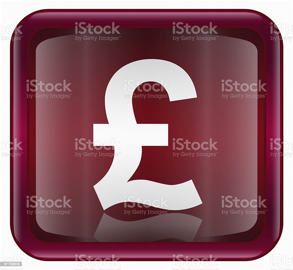 Pound icon dark red, isolated on white background royalty-free stock vector art