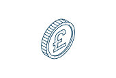 istock Pound Sterling coin, currency isometric icon. 3d line art technical drawing. Editable stroke vector 1250443336