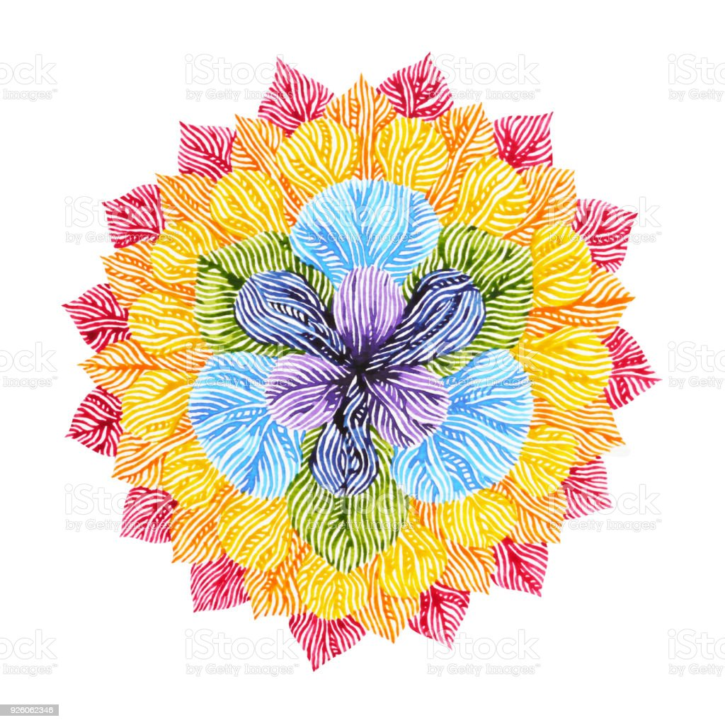 Power 7 color chakra sign symbol colorful lotus flower symbol power 7 color chakra sign symbol colorful lotus flower symbol watercolor painting on paper izmirmasajfo