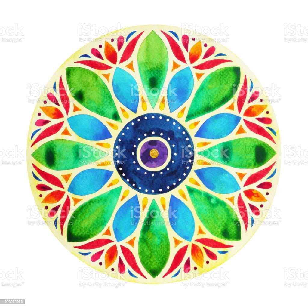 Power 7 color chakra sign symbol colorful lotus flower symbol power 7 color chakra sign symbol colorful lotus flower symbol watercolor painting on paper izmirmasajfo