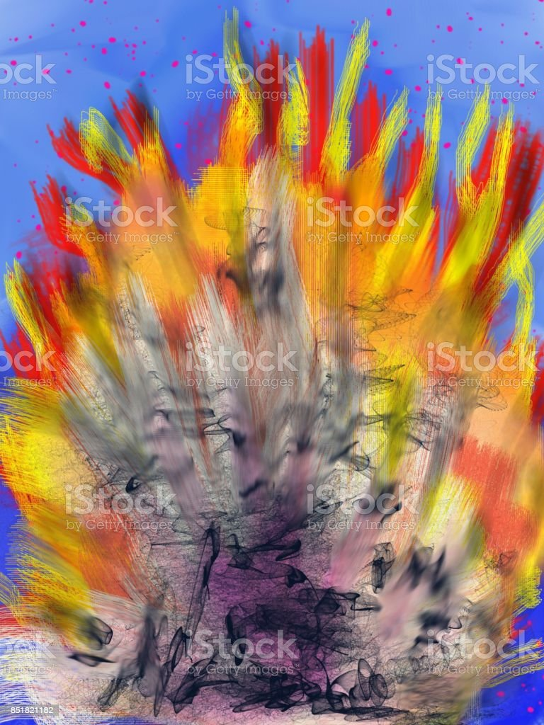 Power of ignition Artistic abstract lyric creation, with a flat brush technique. The image - impressionistic and exciting - is a beautiful dynamic texture, with warm colors. Abstract stock illustration