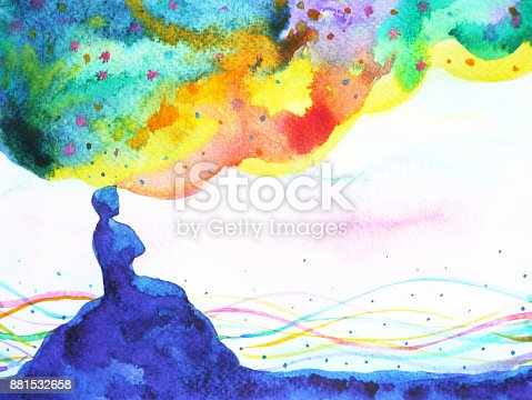 653098388istockphoto power of thinking, abstract imagination, world, universe inside your mind, watercolor painting 881532658