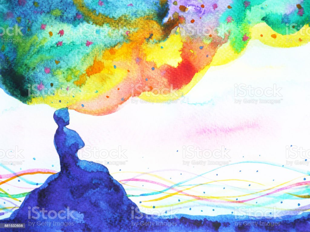 power of thinking, abstract imagination, world, universe inside your mind, watercolor painting vector art illustration