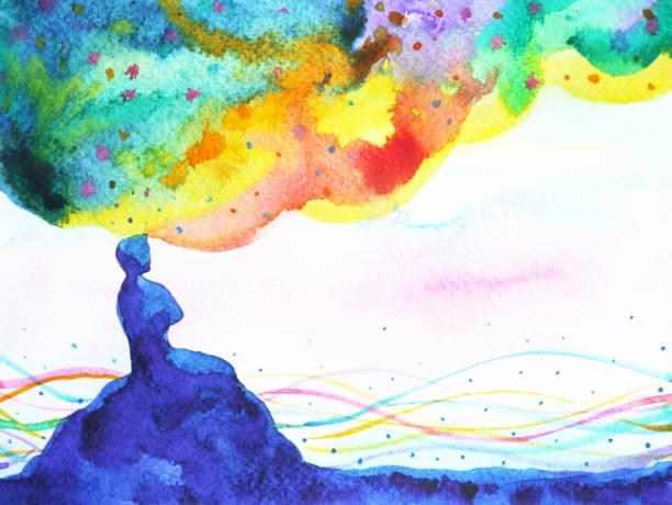 ilustraciones, imágenes clip art, dibujos animados e iconos de stock de poder del pensamiento, la imaginación abstracta, mundo, universo dentro de tu mente, acuarela pintura - esperanza