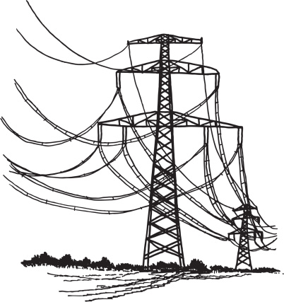 Power Transmission Line Drawing Stock Illustration