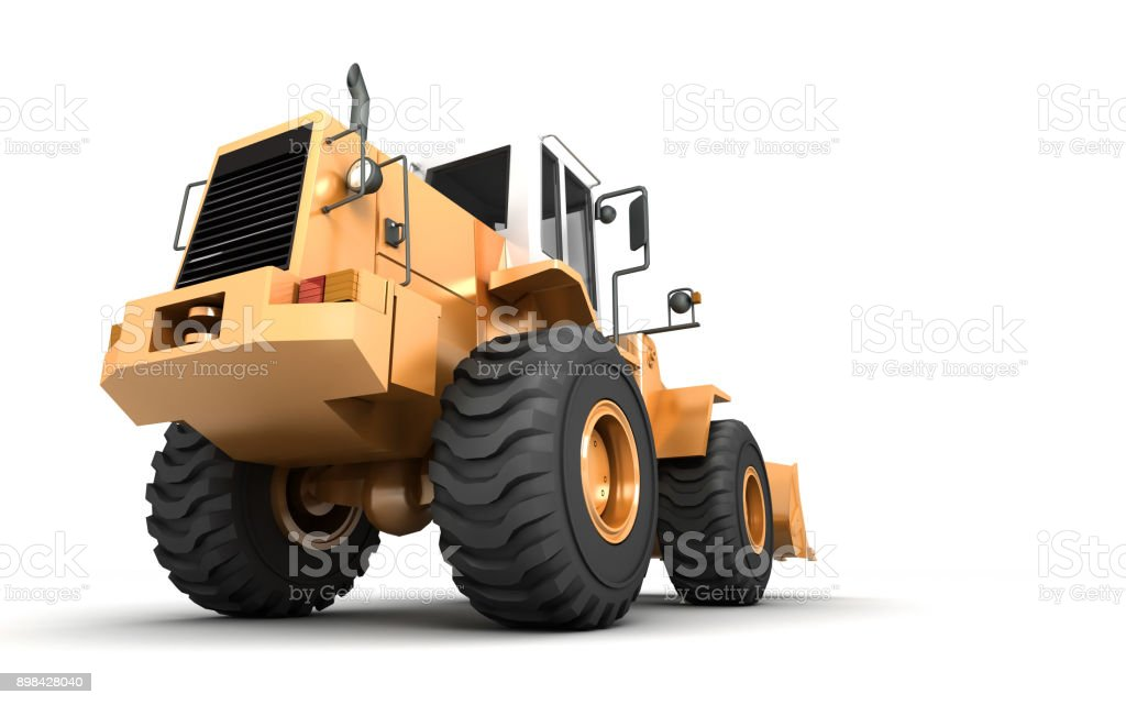 Powerfull concept. Giant yellow hydraulic loader isolated on white. Left to right direction. 3D illustration. wide angle. Rear view vector art illustration