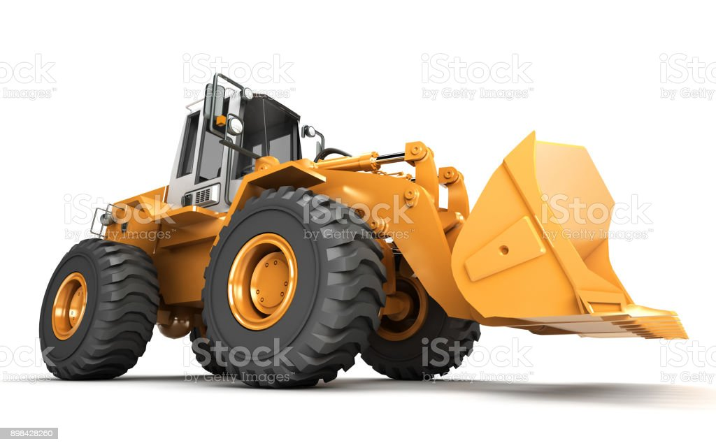 Powerfull concept. Giant yellow hydraulic loader isolated on white. Left to right direction. 3D illustration. wide angle. Side view vector art illustration