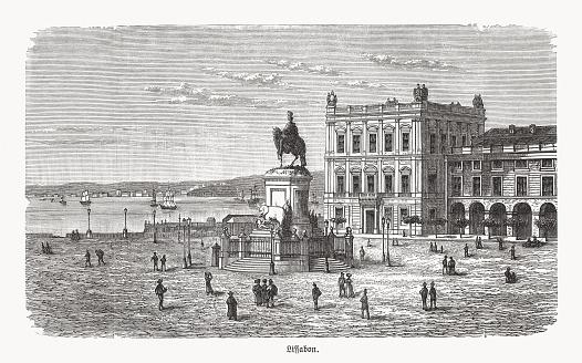 Praça do Comércio, Lisbon, Portugal, wood engraving, published in 1893